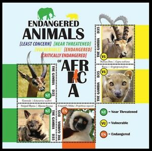 Gambia 2013 MNH SS, Endangered Animals Fosa, Nubian Ibex, Striped Hyena