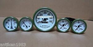 Willys MB Jeep Ford GPW CJ - Speedometer Temp Oil Fuel  Amp Gauges - White /Olv