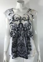 Apt 9 Womens Top Size Small White Black Artsy Sequin Front Scroll Print Blouse