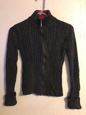 Women Tommy Hilfiger grey Full  Zipper Pull Turtle Neck Sweater Size Small