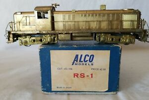 VTG. ALCO MODELS HO BRASS #D-106 ALCO RS-1, UNPAINTED with ORIG. BOX - TESTED