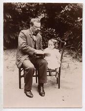 PHOTO ANCIENNE Snapshot Lunettes Homme Enfant LIVRE Vers 1900 Lecture Lecteur