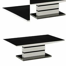 """ARYA"" High Gloss White and Black Coffee Table | Italian Design"