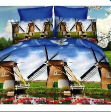 3D Bedsheet Modern Windmill Theme Queen Fitted Sheet Cover Linen w/ Pillowcase