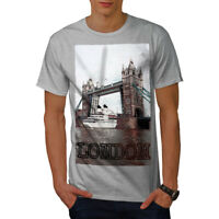 Wellcoda Tower Bridge Urban Mens T-shirt, London Graphic Design Printed Tee