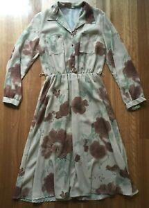 Vintage Retro ladies long sleeve light brown sheer floral A-line Dress Size M