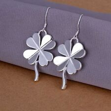 *UK* 925 SILVER PLT FOUR LEAF CLOVER DROP DANGLE HOOK EARRINGS GOOD LUCK LEAVES