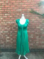 Monson Green Silk Long Fit & Flare Dress Size 12 Fitted Party Dress B9