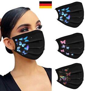 10-50 x EMUZO Mund-Nasen-Maske Behelfsmaske Schwarz mit Schmetterlingen 3-Lagig