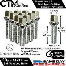 20PC MERCEDES CHROME 14X1.5 BALL SEAT LUG BOLT 45MM SHANK SHAFT FIT ORIGINAL RIM