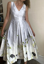 Beautiful Ted Baker Princess Petal Ballerina Dress Ash Grey Floral 0 Uk 6 Prom