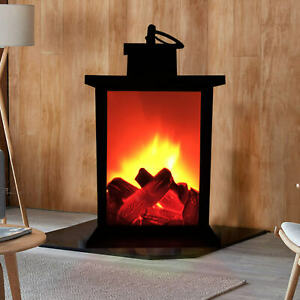 LED fireplace lantern battery operated light table top in / outdoor garden lamp