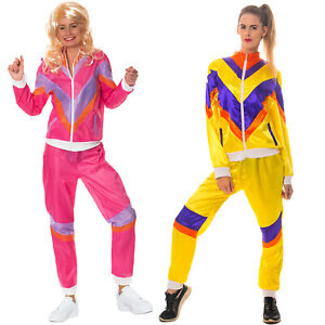 80s Shell Suit Costume Scouser Tracksuit Womens Adult Ladies Fancy Dress Outfit