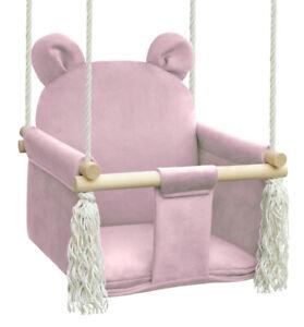 Balançoire pour enfants Swing Bébé, de bois, pour jardin, pour intérieur, rose