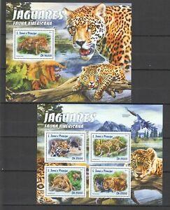 ST1553 2016 S. TOME & PRINCIPE ANIMALS FAUNA CATS JAGUAR KB+BL MNH