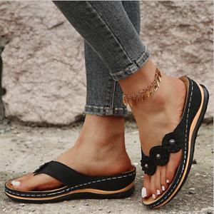 Sommer Damen Sandalen Keilabsatz Sandaletten Hausschuhe  Schlappen Flip Flop