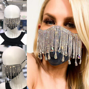 Shinny Bling Rhinestone Tassel Face Mask Sparkle Crystal Diamante Mouth Cover