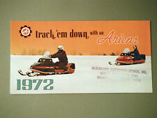 1972 Vintage Ariens Snowmobile Foldout Pocket Brochure