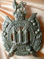 VICTORIAN King Own Scottish Borderer Cap Badge QVC 2 Lugs SUPER Antique ORIGINAL