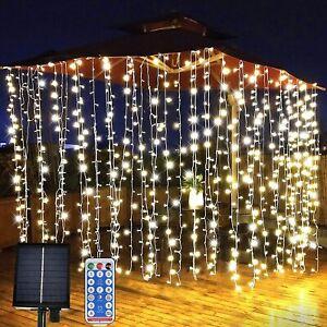 Christmas Curtain Fairy Lights 300 Led UK Plug / Solar Wedding Indoor Xmas Party