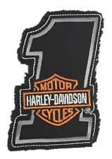 Harley-Davidson Genuine Bar & Shield #1 Frayed Emblem Patch, 4 x 2.5 inches