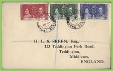 Hong Kong 1937 KGVI Coronation set on cover