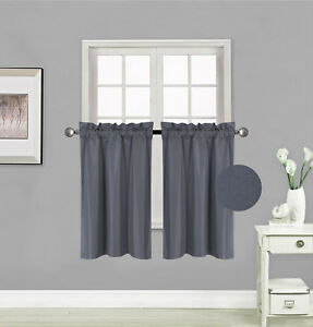 """1 Set 2-Panels Rod Pocket Silky Window Curtain Lined Blackout RS5 30""""X 36"""" each"""