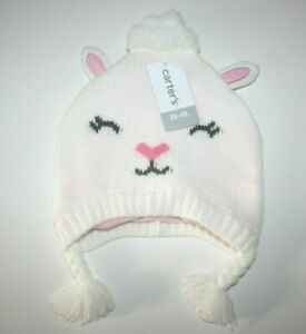 Carter's baby White Cat Kitty Hat Beanie Winter Warm Size: 2T-4T New NWT