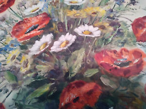 STUNNING VINTAGE OIL ON CANVAS STILL LIFE VASE OF POPPIES & FLOWERS SIGNED