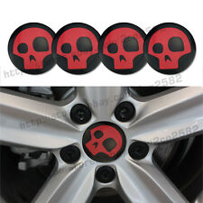 Car Alloy Red Skull Face Wheel Center Hub Caps Replace Badge Emblem Stickers