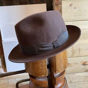 Junior Borsalino Fedora Trilby Hat Brown EU 57 Fits Eu 56 UK 6 7/8 US 7