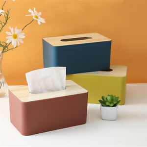 Tissue Box Wooden Cover Toilet Paper Dispenser Case Napkin Holder Home Organizer
