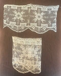 Antique Pair of cuffs. Beautiful scalloped design filet net lace