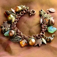 NEW SWEET ROMANCE SQUIRREL FALL HARVEST CHARM BRACELET