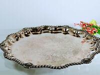 Antique Barker Ellis Silverplate Round Tray, England, Pineapple Hallmark 1906-12