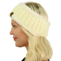 Winter CC Sherpa Polar Fleece Lined Thick Knit Headband Headwrap Hat Cap