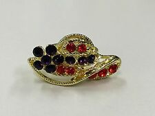 NEW Adjustable Red and Purple Rhinestone Gold Tone Ring Hat Society Lady