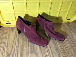 BANDOLINO POINTED SQUARE TOE PUMP BOOTS HIGH BLOCK HEEL WOMEN 8.5 - 9 M ZIPPER