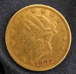 1882 S $20 gold coin Double Eagle.