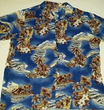 Hilo Hattie Hawaiian Style Button Front Shirt Mens XXL guitar canoe Island scene
