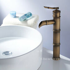 Tall Bamboo Design Antique Bronze Bathroom Basin Tap Sink Faucet 3 Joints A14