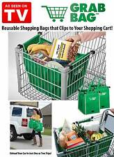 GRAB BAG Clip to Cart Reusable Shopping Grocery Bag - As Seen on TV 2 PACK
