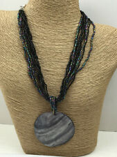 Fashion Necklace Glass Peacock Shimmer Seed Bead Multi Strand Mother of Pearl