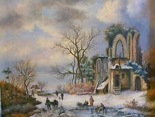 Ölgemälde Winter Landschaft Personen Ruine