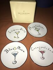 "Pottery Barn Fish Martini Coaster Plates Set of 4 Appetizer Condiment 4"""