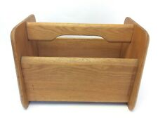 Used Oak Wood Wooden Blonde Caddy Handled Container Magazine Rack Storage