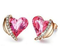 PInk Topaz 14K Rose Gold Heart Stud Pave Earrings ITALY MADE