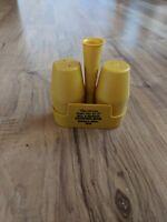 Vintage Gold Plastic Salt & Pepper Shakers With Holder