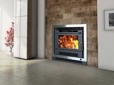 Wood Heater Ecomaxx Deco Zero Clearance Inbuilt - Metallic Black Fireplace