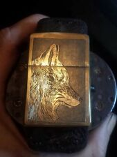 zippo lighter Hand carved engraved by D. Coalburn wolf